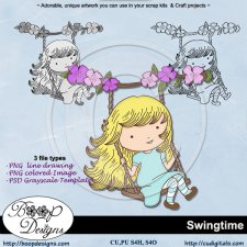 Swingtime - Lineart Clipart & Template