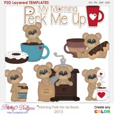 Morning Perk Me Up Bears Layered Element Templates