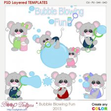 Bubble Blowing Fun Layered Element Templates