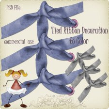 Tied Ribbon Decoration to Color by Rose.li