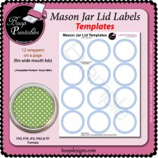 Jar Lid Label TEMPLATES - 5294 by Boop Printable Designs