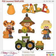 Happy Fall Autumn Scarecrows 2 Element Templates