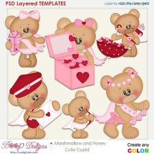 Marshmallow & Honey Bear Cute Cupid Layered Element Templates