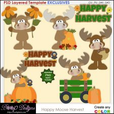 Happy Moose Fall Harvest - EXCLUSIVE TEMPLATES