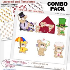Calendar Mice Holiday 1 Layered Template & Pattern Overlay COMBO