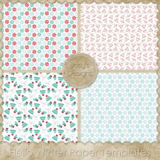 Hello Winter Paper Layered Templates by Josy