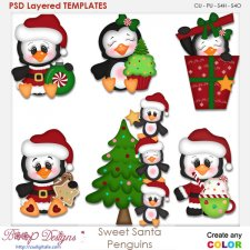 Sweet Santa Penguins Layered Element Templates