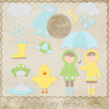 Rainy Day Layered Vector Templates by Josy