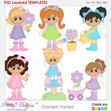 Garden Fairies Layered Element Templates