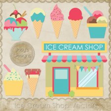Ice Cream Shop Layered Vector Templates by Josy