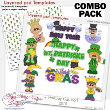 Holiday Kids 1 Layered Template & Pattern Overlay COMBO