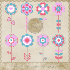 I Heart Flower Layered Vector Templates 2 by Josy