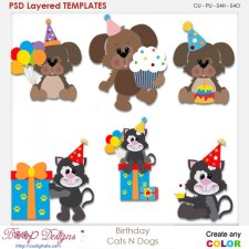 Birthday Cat and Dog Layered Element Templates