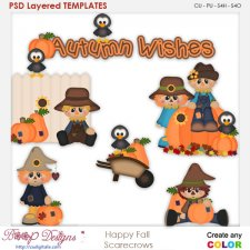 Happy Fall Scrarecrows 1 Layered Element Templates
