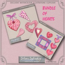 EXCLUSIVE Bundle of Hearts Watercolour by Silver Splashes