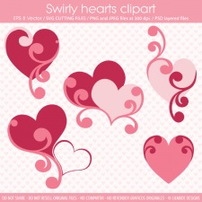 Swirly hearts templates and SVG files Lilmade Designs