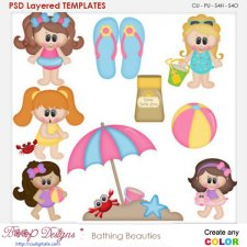 Bathing Beauties Layered Element Templates