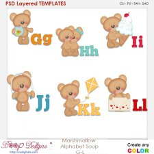 Marshmallow Bear Alphabet Soup G to L Layered Element Templates