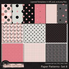 EXCLUSIVE Layered Paper Patterns Templates Set 8 by NewE Designz