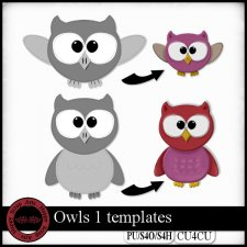 Owls 1 templates CU4CU by Happy Scrap Art