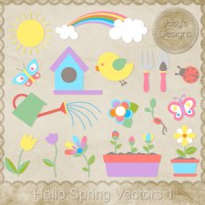 Hello Spring Layered Vector Templates by Josy