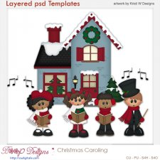 Christmas Caroling Layered Templates COMBO Set