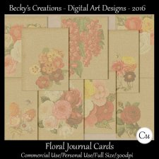 Floral Journaling Cards CU FS by Beckys Creations