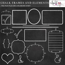 Chalkboard frames and element cliparts plus chalkboard texture