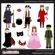EXCLUSIVE Layered Halloween Costumes Templates by NewE Designz