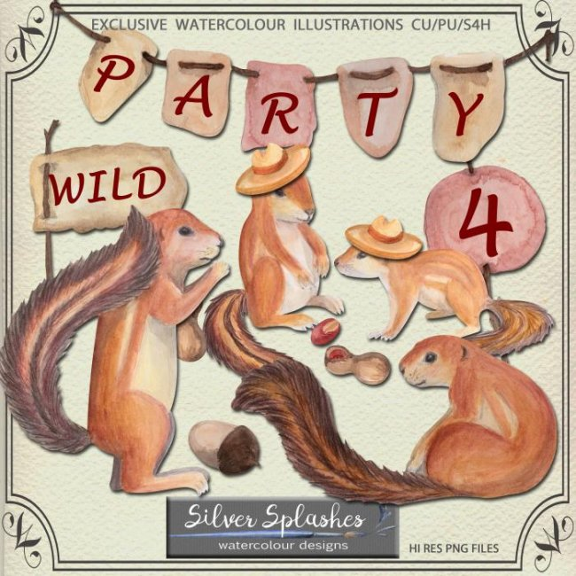 EXCLUSIVE Wild Party Watercolour by Silver Splashes