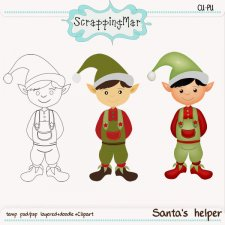 Santas Helper Template Clipart - Doodle by ScrapingMar