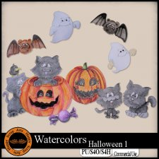 Watercolors Halloween 1 Elements by Happy Scrap Art