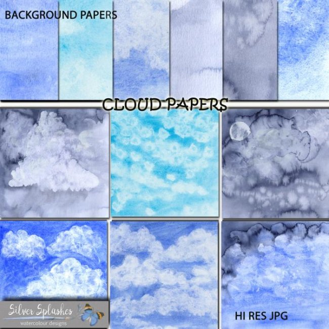 EXCLUSIVE Watercolour Cloud Papers by Silver Splashes
