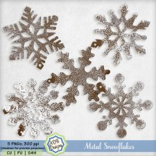 Frosted Metal Snowflakes - Winter Elements by ADB Designs