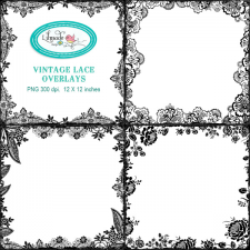 Vintage lace border overlays PNG templates Lilmade Designs