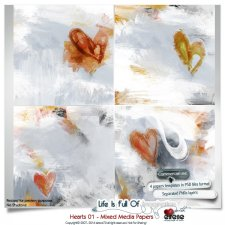 Hearts 01 - Mixed Media Papers by Eirene Designs