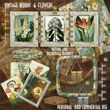 Vintage Wood and Flowers by Cari Lopez