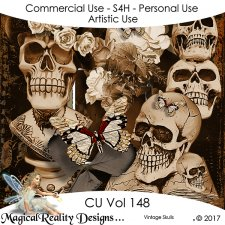 Vintage Skulls - CU Vol 148 by MagicalReality Designs