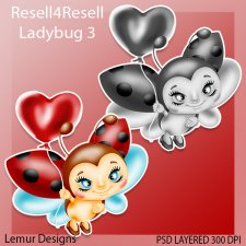 Ladybug Valentine Layered PSD Template by Lemur Designs