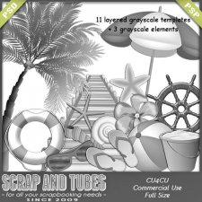 Grayscale Beach Templates and Elements CU4CU by Scrap and Tubes