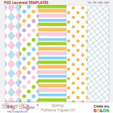Spring Paper Patterns 01 - Layered Templates