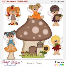 Autumn Pixies Kids 1 Element Templates