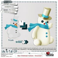 Blue Christmas3 actions - Snowman1