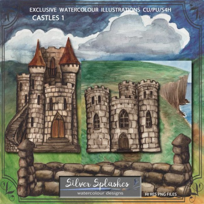 EXCLUSIVE Castles 1 Watercolour by Silver Splashes