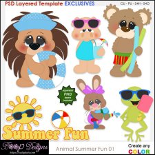 Animal Summer Fun - EXCLUSIVE Layered TEMPLATES