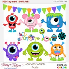 Monster Mash Party layered Element TEMPLATES