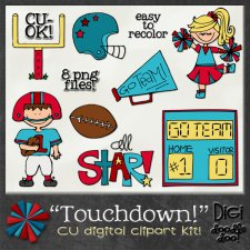 Touchdown Football CU clipart