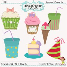 Summer Birthday Vol2 Templates - Clipart by ScrapingMar