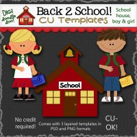 Back 2 School! CU layered templates - School house and kids