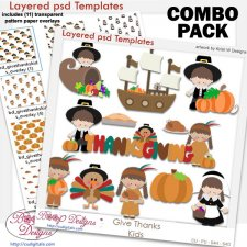 Give Thanks Kids Layered Template COMBO Pack